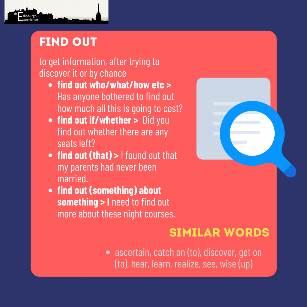find out phrasal verb 1