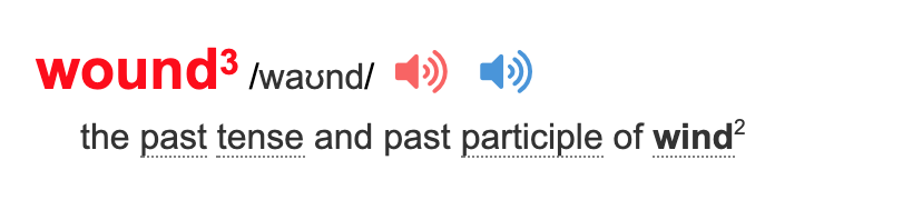 Image of the word wound in past participle