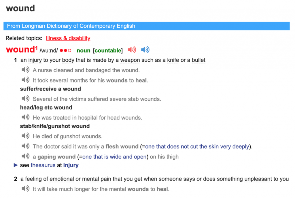 Image of definition of the word wound as a noun