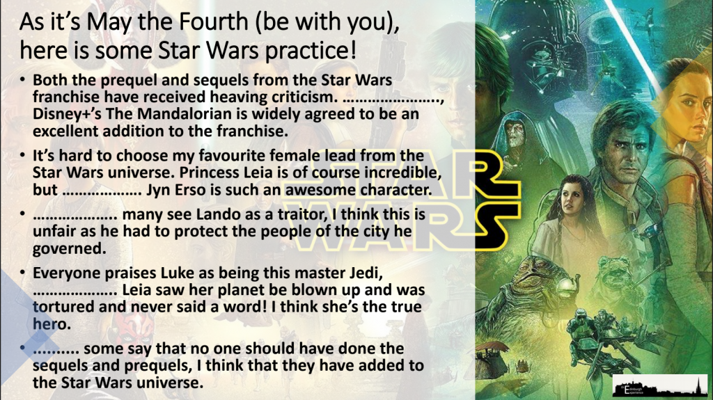 Making Comparisons with Star Wars examples
