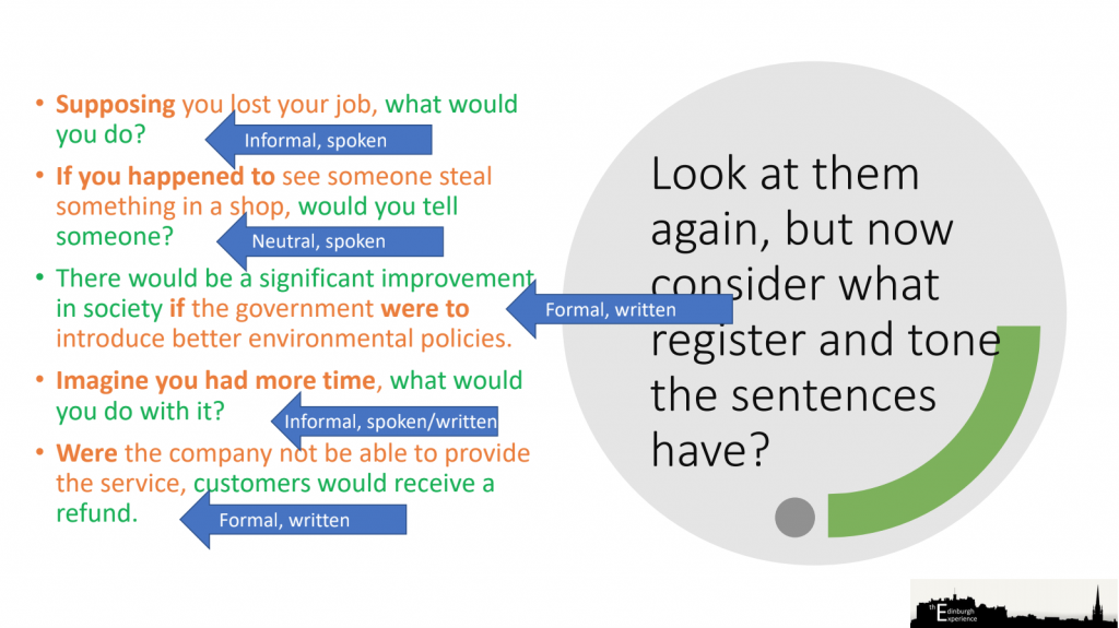 By changing the word in a second conditional sentence you also change the tone and register of the sentence.