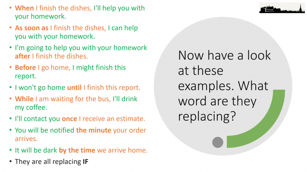 Example sentences showing future time clauses in English