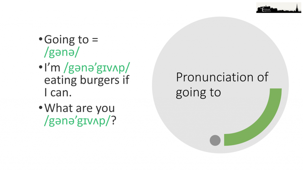 An image explaining the pronunciation of going  to in fluent English